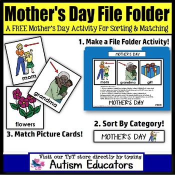 FREE File Folder Activities For Special Education: MOTHERS DAY Matching/Sorting