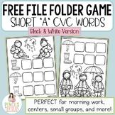 FREE File Folder Game - Black & White Version - Short A CVC Words