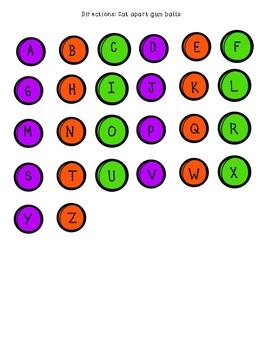 FREE - File Folder Game - Gum Ball Alphabet Matching Game