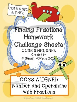 FREE Finding Fractions CCSS Math Centers Activities and Homework Challenge