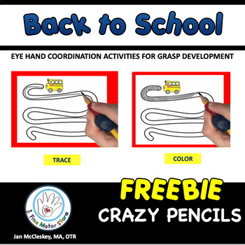 FREE Fine Motor Crazy Pencil Labs - Back to School Themed