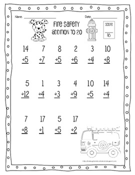 FREE--Fire Safety Addition Practice Page