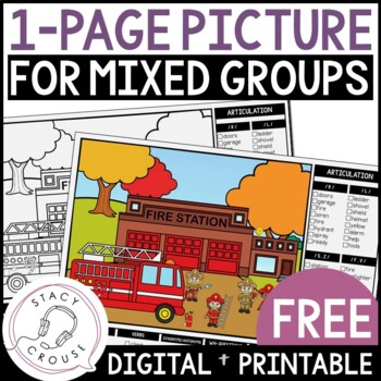FREE Fire Station One Page Picture Scene for Mixed Groups Articulation Language