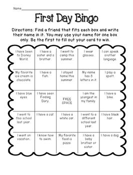 FREE First Day Bingo