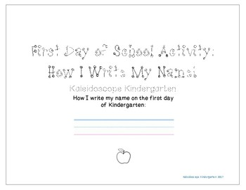 FREE First Day of Kindergarten Activity - Name Writing