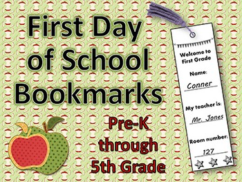 FREE - First Day of School - Bookmarks
