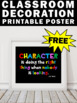 Free Printable Classroom Poster, Character Quote, Back to School Classroom Decor