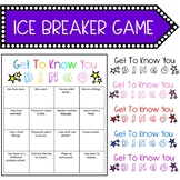 """FREE! First Day of School Classroom Ice Breaker Game """"Get To Know You BINGO"""""""