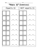 FREE! {First Grade} Addition Make 10 Dominoes Sort Math Center Recording Sheet