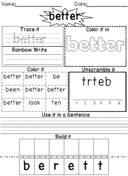 FREE First Grade Journeys Sight Word Packet Unit 5 Lesson 21