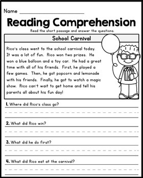 Worksheet Reading Comprehension Grade 4 free first grade reading comprehension passages set 1 by 1