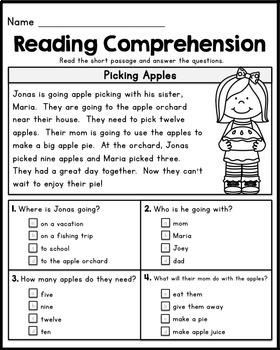 FREE First Grade Reading Comprehension Passages - Set 1 by Kaitlynn ...
