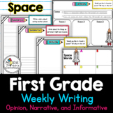 FREE First Grade Weekly Writing Space (opinion, narrative,