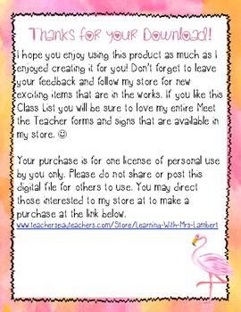 FREE - Flamingo & Chevron Watercolor Class List - Great for Meet the Teacher!