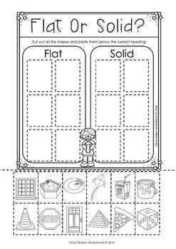 Flat or Solid Shapes - 2d or 3d shape sort - Geometry Worksheets