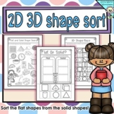 Flat or Solid Shapes - 2d or 3d shape sort - Geometry Worksheets