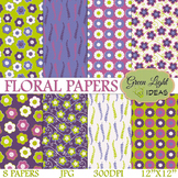 FREE Floral Spring Backgrounds / Purple Floral Digital Papers / Spring Clipart