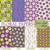 FREE Floral Spring Backgrounds / Purple Floral Digital Pap