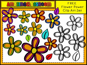 FREE Flower Power and Leaves Clip Art Set
