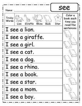 FREE-Fluency Phrases - PrePrimer Words