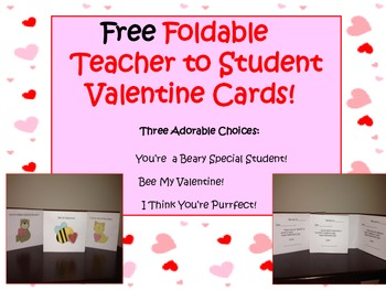 Free Foldable Teacher To Student Valentine S Day Cards Tpt