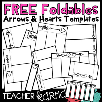 free foldables interactives flip book templates arrows hearts