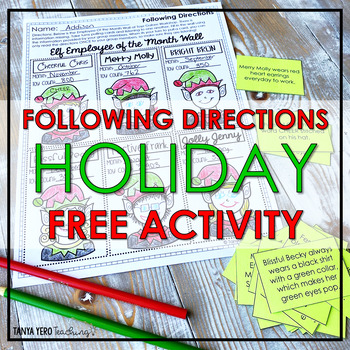 FREE Following Directions Speaking and Listening Team Builder Christmas FREEBIE