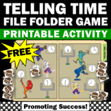 FREE Telling Time Special Education File Folder Game Football Theme