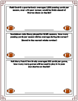 FREE Football Math-Level II (Common Core)