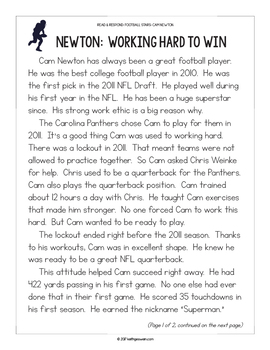 FREE Football Paired Texts: Cam Newton and Russell Wilson: (Grades 1-2)