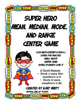Math Game Mean, Median, Mode and Range Math Center Card Game, Center Activity