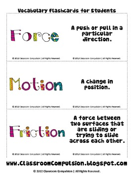 free force motion vocabulary flashcards by classroom compulsion. Black Bedroom Furniture Sets. Home Design Ideas