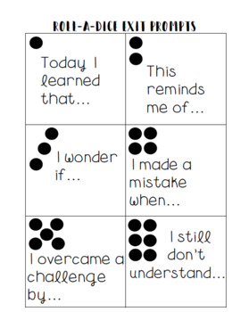 FREE Formative Assessment Roll-A-Dice Ticket Out the Door