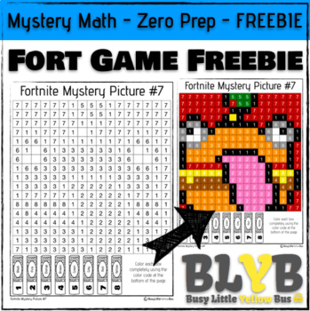 FREE Fortnite Themed Mystery Math Picture (Number Recognition) NO PREP Printable
