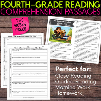 FREE Fourth Grade Weekly Reading Comprehension [Nonfiction and Fiction]