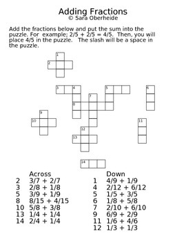 FREE - Fraction Crossword Puzzles - Adding and Subtracting