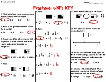 Fractions Test FREE
