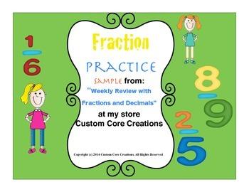 FREE Fraction and Decimals Practice Sampler