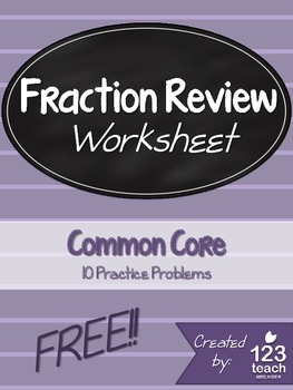 FREE Fraction and Mixed Numbers Quick Review Worksheet