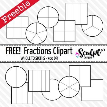 Fractions Clip Art ~ FREE! Black & White Outlines