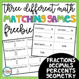 FREE! Fractions, Decimals, Percents, and Geometry Matching Games
