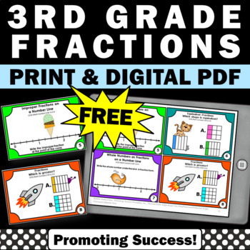 FREE Fraction Task Cards, 3rd Grade Math Review, Fraction Games