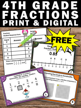 FREE Fraction Task Cards, 4th Grade Math Review, Fraction Games