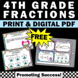 FREE Fraction Task Cards 4th Grade Math Review Games Digital & Printable