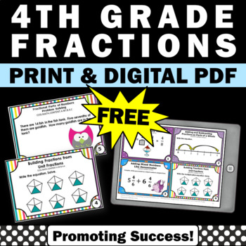 free 4th grade 4 fractions task cards games activities