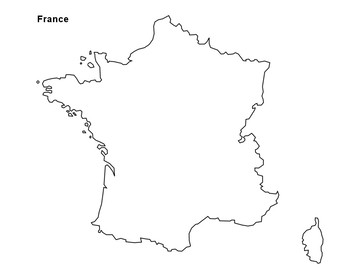 Outline Of Map Of France.Free France Map Outline By The Harstad Collection Tpt