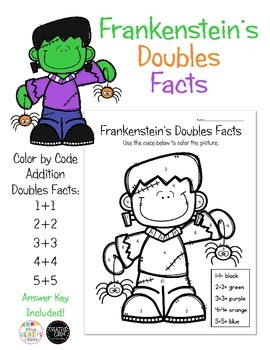 FREE Frankenstein's Addition Doubles Facts - Color by Code