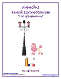 FREE French I Final Exam Review: List of Infinitives