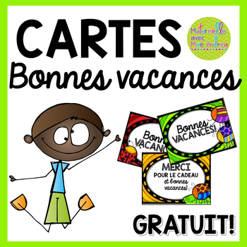 FREE French cards for the end of the year - Bonnes vacances!