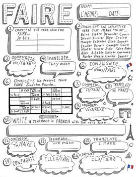 French verb Faire ~printable ~worksheet ~verb conjugation No prep PDF